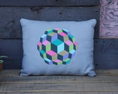 Hand Painted Neon Colorful Optical Illusion Pillow- Grey Canvas Dark Denim