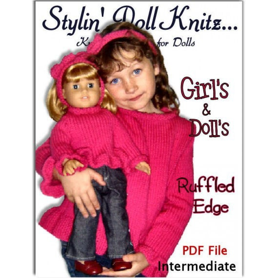 Knitting Patterns, matching, girls 4-10, American Girl and 18 inch dolls. PDF File