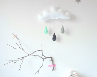 Rain Cloud Mobile Nursery Children Decor.... Rain of colors grey,black and mint raindrops by The Butter Flying