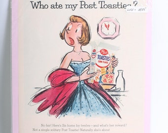 1955 Original Cereal Advertisement Post Girl Sketch Post Toasties from LIFE Magazine