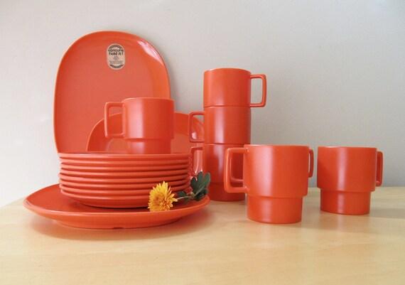 red orange melmac dishes set, new old stock texasware, poppy