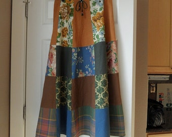 Patchwork skirt 32 waist womens long / hippie tier boho / blue brown gold / flower plaid