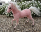 Pink Needle Felted Baby Horse Foal