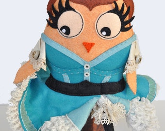Collectible Art doll, Owl felt doll ''La Goulue'' Moulin Rouge French Cancan dancer in Paris, published in Stuffed magazine, OOAK