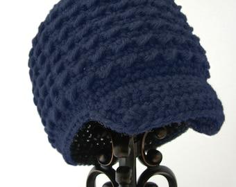 Toddler Newsboy Hat, Boy Crochet Hats, Navy Blue Child Beanie, Soft-Brimmed Visor, MADE TO ORDER, Children Clothing