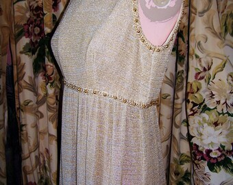 60s Dress I Magnin MOD Goddess Gold Beaded empire maxi size M