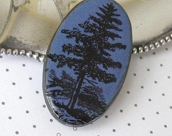 Pine Tree Brooch.  Cornflower Blue Glaze on Black Porcelain Oval. Indigo. Deep Periwinkle. Denim. Evergreen. Piney Woods. Up North Scene