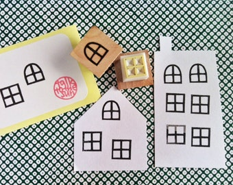 window rubber stamp set. hand carved rubber stamps. gift wrapping. scrapbooking. birthday holiday crafts with children. set of 2. mounted
