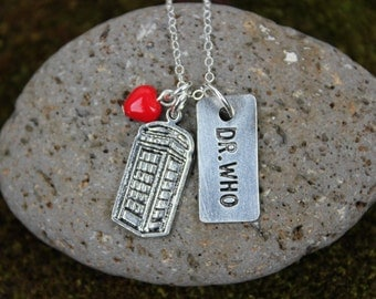 Dr Who Necklace - silver - DR WHO & Tardis  pewter charms, red glass heart on sterling silver chain -Free Shipping USA