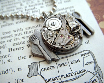 Plate Of Steampunk Necklace Pendant Round Vintage Watch Movement Unisex Men's or Woman's Silver Tone