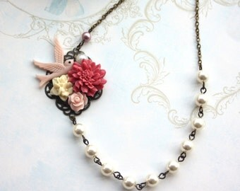 Shabby Rustic Red Mum Flower, Bird, Pink, Ivory, Pearl Collage Flower Necklace. Bridesmaids Jewelry Gift. Vintage Garden Nature Wedding.