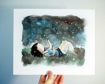 Fireflies 8x10 print - watercolor drawing and painting of a girl in the grass