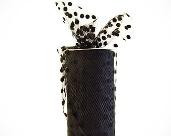 Polka Dot Tulle Spool, Black, 6 inches wide, 25 yards