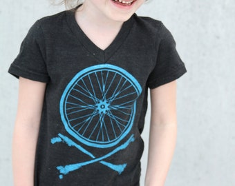 Size 4 - Kids Clearance - Kids V Neck American Apparel T Shirt - Bicycle Wheel and Crossbones Sizes 2, 4 and 6