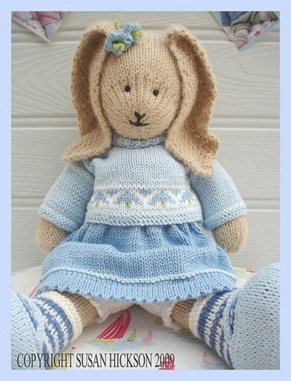BLUEBELL Rabbit/ PDF Toy Knitting Pattern/ Bunny Rabbit/  Plus Free 'Handmade Shoes' Knitting Pattern/ INSTANT Download