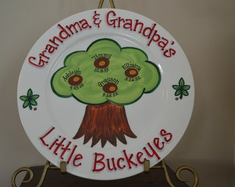 Ohio State PERSONALIZED Family Tree Plate, Hand Painted Custom Plaque, Little Buckeyes, Gift for Grandparents, OSU, Ohio State Home Decor