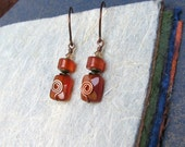 Carnelian Sparkle Antiqued Copper (USA) Earrings