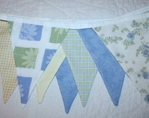 8 foot Bunting Banner Shabby Chic Vintage sheets, pastel blue green yellow