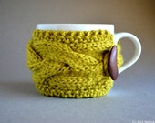 Knitted Cup Cozy, Coffee Cup Sleeve, Knit Coffee Cozy, Knit Cup Warmer, Knit Cup Cozy, Coffee Cozies Knit Mug Cozy Tea Cosy Chartreuse Decor
