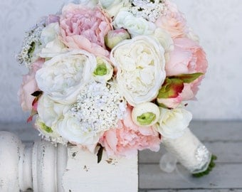 Silk Bride Bouquet Peonies Roses Rustic Chic Wedding