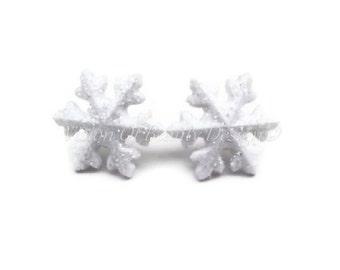 Glistening Christmas Snowflake Earrings, Fresh Fallen Snow Post Earrings, Holiday Jewelry by Vision of Beauty Design