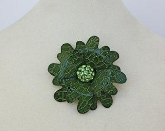 Vintage 60s Mod Flower Brooch Green Enamel Flower w Peridot  Rhinestone Center