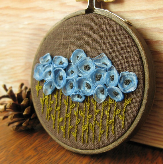 Embroidery Hoop Art Wall Hanging - Blue Flowers Embroidered on Brown Linen in 3 inch Embroidery Hoop