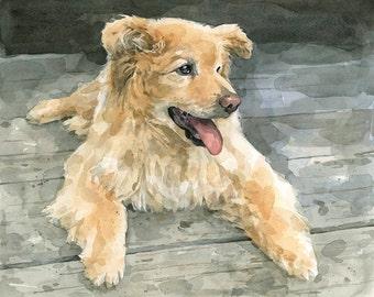 Custom Pet Portrait Watercolor 11x14 Dog Painting