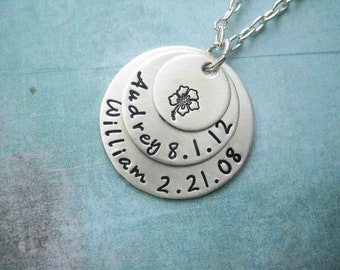 Baby Name Date Necklace Shiny Matte Customized Sterling Silver Name Necklace Personalize children stamped stamp