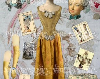 Vintage Queen Art Paper Doll Collage Sheet 'Marie Antoinette' digital download
