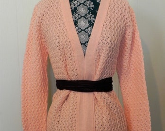 Vintage Cardigan Sweater 60s Cardigan DEAD STOCK Orange Sherbet L - on sale