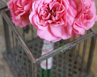 Pink Roses Valentines Day Wedding Bouquet - Pink Bridal Keepsake Bouquet