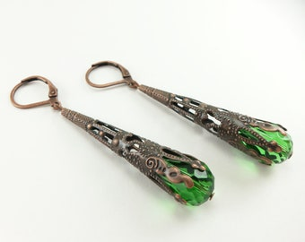 Green Dangle Copper Earrings Long Dangle Filigree Earrings Steampunk Victorian