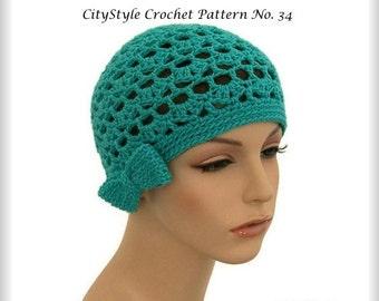 Crochet Pattern - Crochet Hat Pattern PDF for Women's Lacey Bow Cloche - Easy Crochet Pattern, INSTANT DOWNLOAD