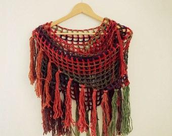 Triangle Crochet Scarf - Triangle Fringed Scarf - Boho Shawl - Crochet Shawl - Triangle Wool Shawl - Variegated Triangle Fishnet Shawl
