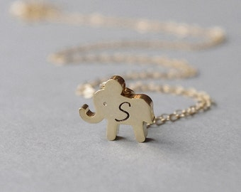 Gold Elephant Necklace, Little Girl Necklace, Elephant Initial Necklace, Personalized Gift, Kids Jewelry, Personalized Necklace for Her