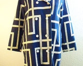 insanely cool  vintage 60s navy blue and white geometric print double breasted overcoat trench