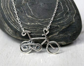 Bicycle Necklace - Sterling Silver Bicycle Necklace