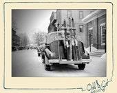 Ski Car Digital Image, 1939 Winter Snow Instant jpg Download