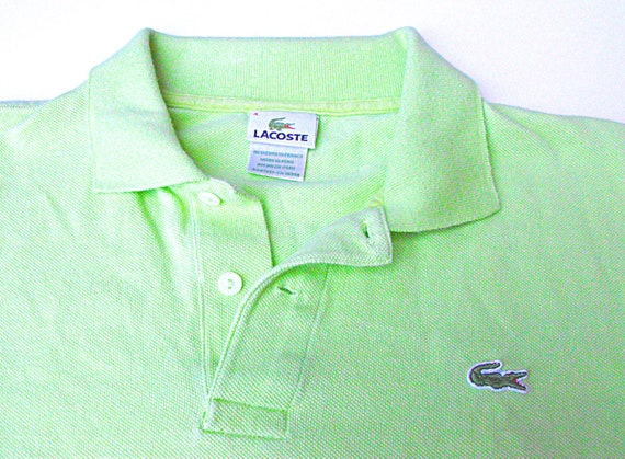 Retro lacoste lime green mens polo vintage 1980 39 s for Mens lime green polo shirt
