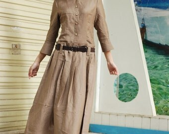 Beautiful Beige linen long Sundress(more colour and size choice)