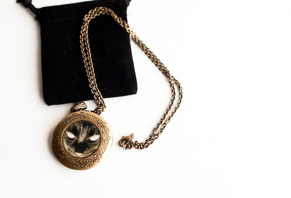 Black Cat Locket- Art Locket- Black Cat Necklace, Photo Art Locket, Gift for Girls under 30 USD