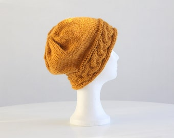 Yellow knit slouchy hat with cable