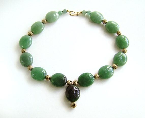 Jade Necklace, 50% OFF SALE, Gemstone Jewelry, Vermeil, Green Necklace, Green Jade, Ombre, Green, Forest, Moss, Pine, 341