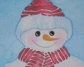 Snowman Quilt Block Hand Painted Fabric with Red Hat and Scarf