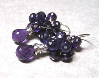 Amethyst Cluster Earrings,  Purple Gemstone,  February Birthstone,  Dangle Earrings,  Sterling Silver, Amethyst Jewelry
