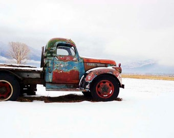 Rusty Chevy Winter Vintage Taos Truck - Turquoise Old Chevrolet Pickup - 8x10 Photograph - Fine Art Home Decor