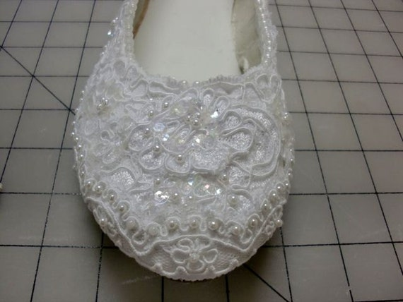 Wedding Shoes, Bridal Flats, Low Heels, Lace Embellished White, Ivory or Black