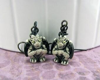 Gargoyle Earrings in Gunmetal - Halloween Earrings, Gotham, Notre Dame Earrings, Cartoon, Gothic, Goth, Spooky, Monster, Scar