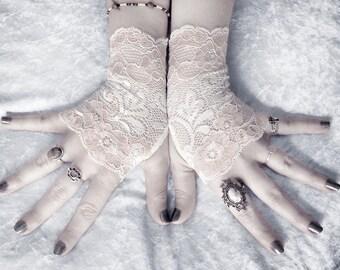 Adele Lace Fingerless Gloves | Soft Ivory Cream Metallic Blush Pink Floral | Wedding Gothic Bohemian Regency Goth Austen Bridal Woodland